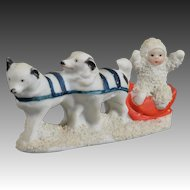 Fine Quality All Bisque Dogsled Snow Baby