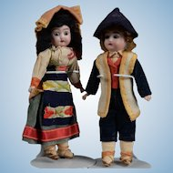 All Original Pair of German Dolls in Regional Costumes - 7 Inch