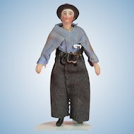 Rare All Bisque Gentleman with Molded Hat - 3.5 Inches