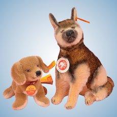 Pair of Steiff Dogs - Mohair Arco German Shepherd and Waldi Dachshund