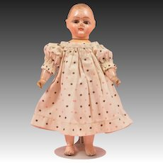 Unusual Sonneberg Taufling Baby with Squeaker - 8 Inches