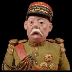 World War I Paper Mache French Marshal - 13 Inches
