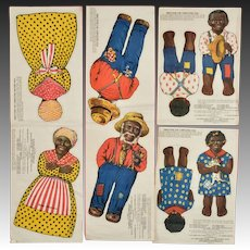 Set of 4 Aunt Jemima Advertising Uncut Cloth Dolls