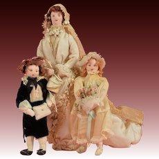 Folk Art Cloth Bride Doll, Ring Bearer & Flower Girl