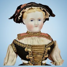 Early Parian Doll in Original Regional Outfit - 14 Inches