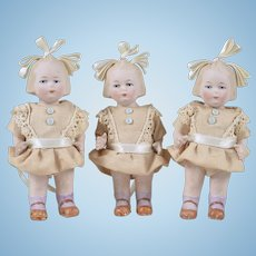 Rare Set of Limbach Triplets with Hair Bows - 5 Inches