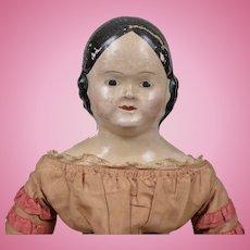 Rare American Linen Head Doll All Original - 19 Inches