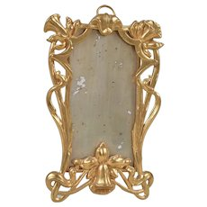 Beautiful Art Nouveau Ormolu Dollhouse Mirror-4.5 Inches Tall