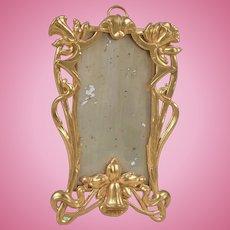 Beautiful Art Nouveau Ormolu Dollhouse Mirror-4.5 Inches Tall