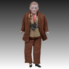 All Original Dollhouse Gentleman with Binoculars - 6 Inches