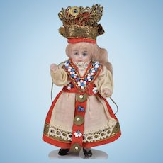 Kling All Bisque All Original Doll in Fancy Regional Outfit - 3.5 Inches