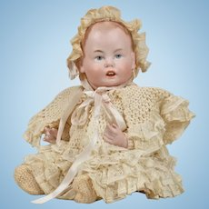 Adorable All Bisque Character Baby in Original Outfit - 9 Inches