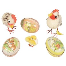 Steiff Chicks and Three Tin Easter Egg