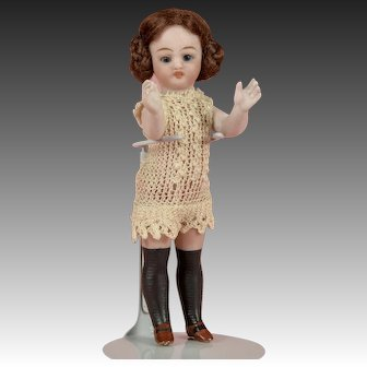 Sweet Simon & Halbig All Bisque Child with Long Black Stockings - 6 inch
