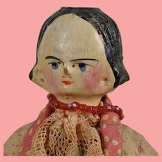 Mid 19th Century Grodnertal Wooden Head Lady - 9.5 Inches