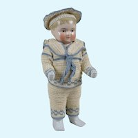 Large Blonde Frozen Charlie with Exceptional Crocheted Mariners Costume - 15 Inches
