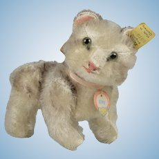 "Stieff Jointed Mohair Cat "" Kitty "" - 5.5 Inches Long"