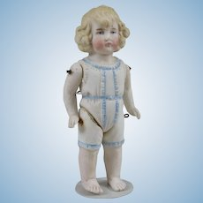 German All Bisque Bathing  Child with Molded Swimsuit and Hair - 5.25 Inches