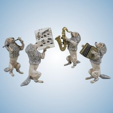 Whimsical Austrian Cold Painted Bronze Miniature Poodle Band - 4 Pieces