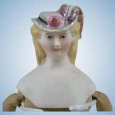 Small Parian Lady with Molded Hat, Pink Luster Feathered Plume - 6.5 Inches Tall