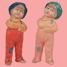 """Two American Celluloid """"Jackie Coogan"""" Rattle Figures - 5.5"""" Inches"""