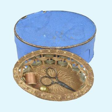 Wonderful Miniature Fashion Accessory Sewing Basket in Original Oval Box
