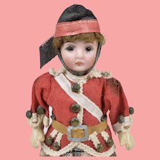 All Original German Bisque Child with Scottish Outfit - 5 inches tall