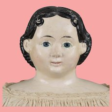 Large Paper Mache 1858 Patent Greiner Doll - 32 Inches