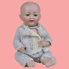 Adorable All Bisque Kestner Character Baby - 8.5. Inches Tall