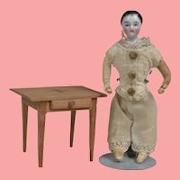 Tiny French China Boy and Miniature Night  Stand - 4.5 Inches tall
