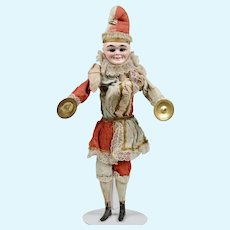 All Original Mechanical German Clown Cymbal Player Toy - 17. Inches Tall