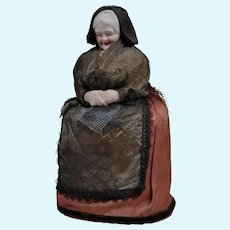 Rare All Original German Bisque Head Candy Container of a Grandmother - 9 Inches