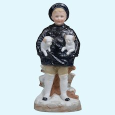 Gebruder Heubach Boy with Puppies Figurine - 9 inches Tall