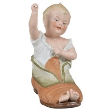 "Gebruder Heubach Boy ""In Papa's Shoe Piano Baby Figurine"" - 7 inches Tall"