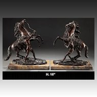 Pair Patinated Bronze Sculptures of Marley Horses L19/E20C