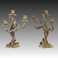 Pair of 19th Century French Gilt Bronze Candelabra with Tree-Form