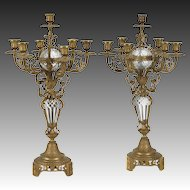 Pair of Large French Crystal and Ormolu Candelabra, 19th Century