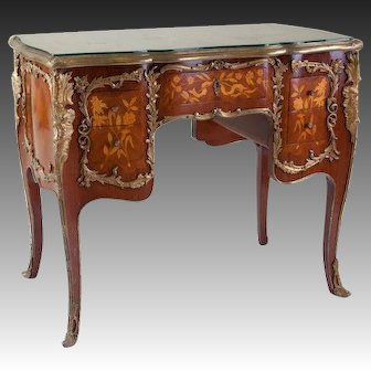French Ormolu-Mounted and Marquetry Inlaid Desk, Mid-20th Century