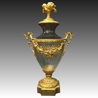 Large French Ormolu-Mounted Cut Crystal Covered Urn