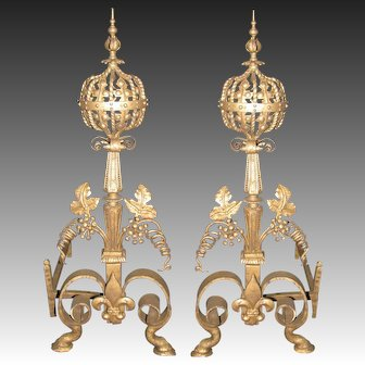 Pair of Wrought Iron and Bronze Baroque Style Andirons