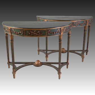 Pair of Italian Neoclassical Style Painted Demilune Consoles