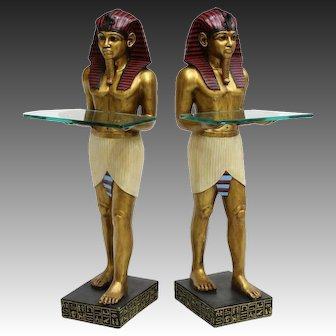 Pair of Venetian Painted Egyptian Motif Figures with Glass Shelves, 20th Century