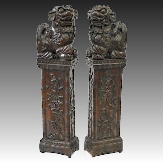 Pair of Chinese Carved Hardwood Fu Lions on Pedestals