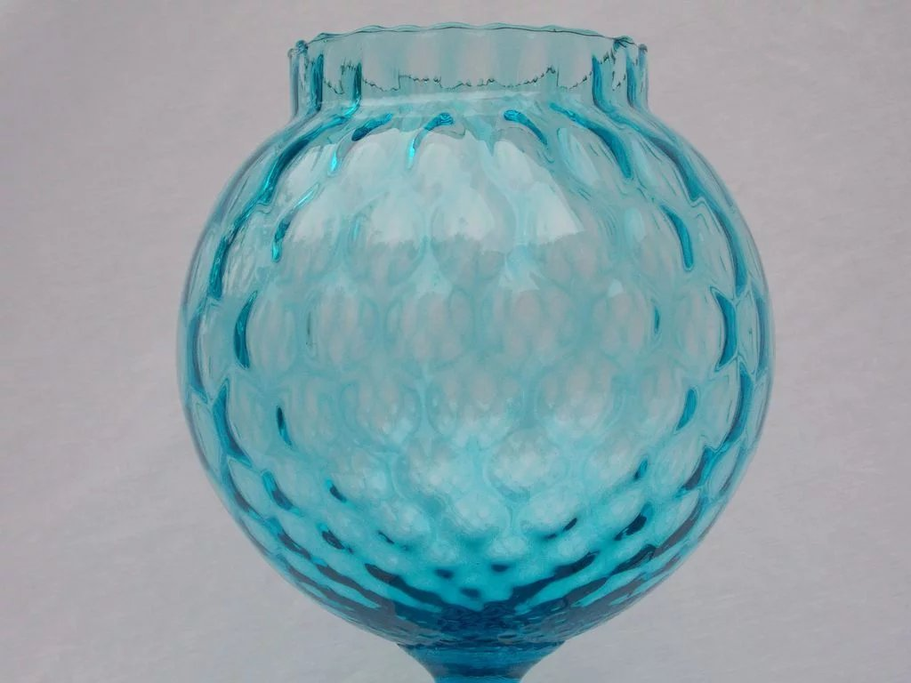 Blue Optic Glass Apothecary Jar With Lid