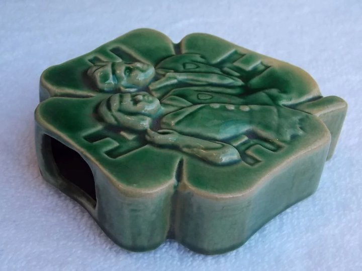 4h Vintage Green Ceramic Wall Vase For The Love Of Trees Ruby Lane