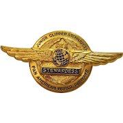 Vintage Circa 1960 Pan American World Airways Junior Clipper Stewardess Wings Pin Made in West Germany