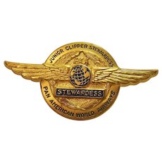 Vintage Circa 1960 Pan American World Airways Junior Clipper Stewardess Wings Pin Made in West Germany