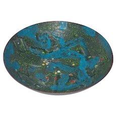 Signed Vintage Enamel on Copper Bowl