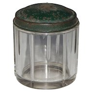 Handsome Heavy Glass Vintage Stamped Steel Green Painted Lid Cuff Link Jewelry Vanity Jar