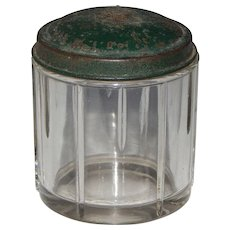 Handsome Heavy Glass Vintage Stamped Steel Green Painted Lid Cuff Link Jewelry Vanity Jar